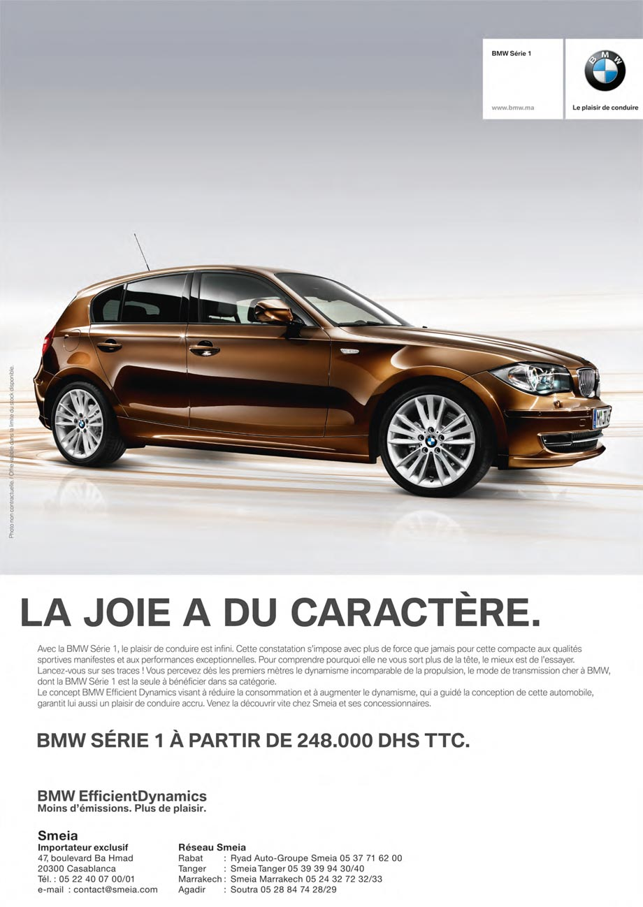 bmw s rie 1 neuve en promotion au maroc. Black Bedroom Furniture Sets. Home Design Ideas