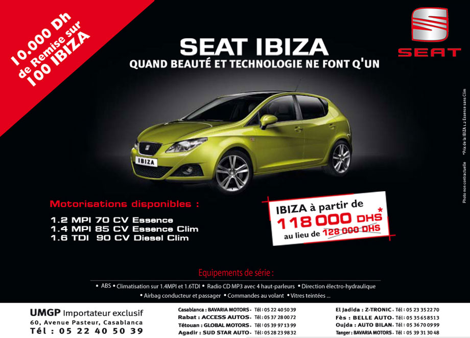seat ibiza neuve en promotion au maroc. Black Bedroom Furniture Sets. Home Design Ideas