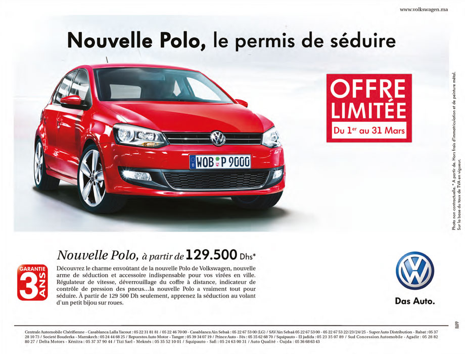 volkswagen polo neuve au maroc prix de vente promotions photos share the knownledge. Black Bedroom Furniture Sets. Home Design Ideas