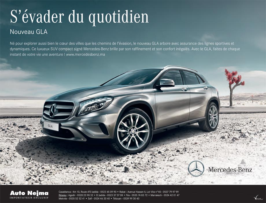 mercedes gla neuve en promotion au maroc. Black Bedroom Furniture Sets. Home Design Ideas