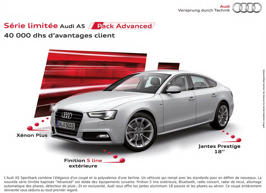 audi a5 neuve en promotion au maroc. Black Bedroom Furniture Sets. Home Design Ideas