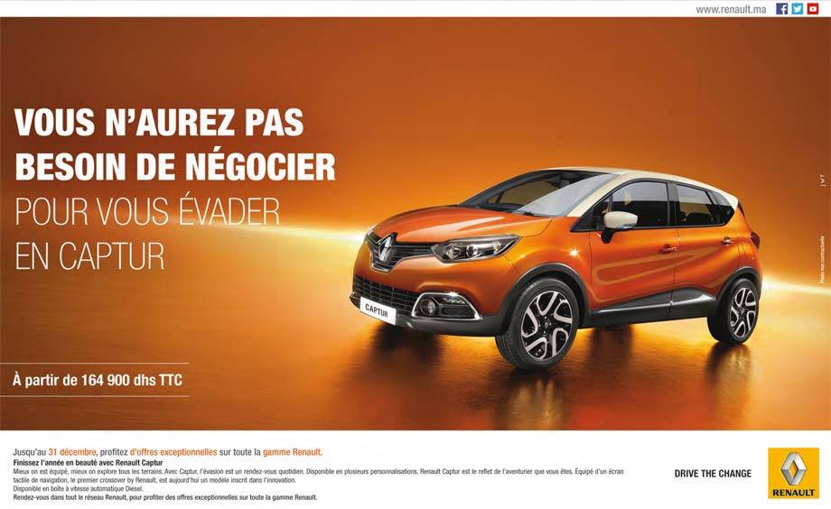 renault captur neuve en promotion au maroc. Black Bedroom Furniture Sets. Home Design Ideas