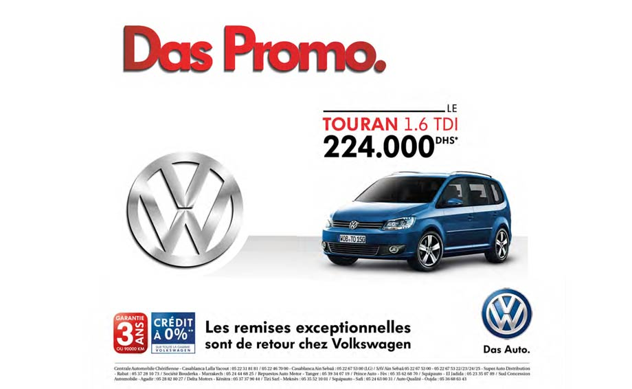 volkswagen touran neuve en promotion au maroc. Black Bedroom Furniture Sets. Home Design Ideas