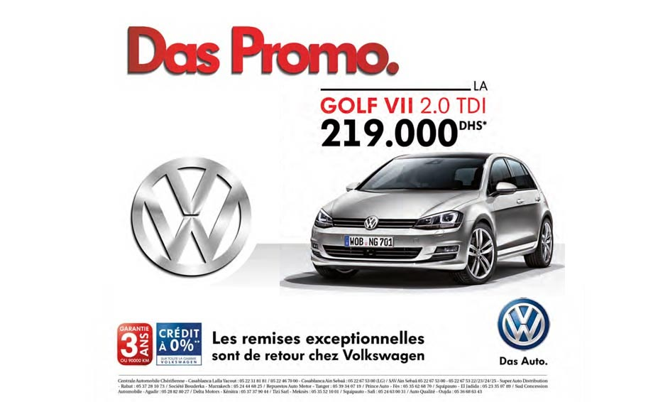 volkswagen golf neuve en promotion au maroc. Black Bedroom Furniture Sets. Home Design Ideas