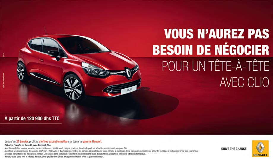 renault clio neuve en promotion au maroc. Black Bedroom Furniture Sets. Home Design Ideas