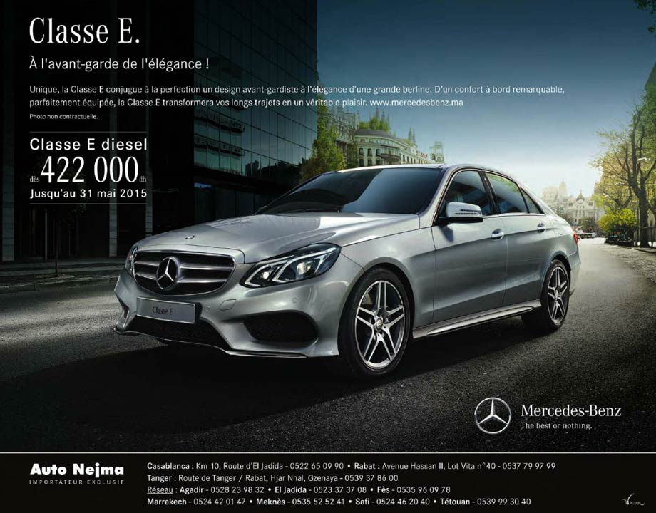mercedes classe e neuve en promotion au maroc. Black Bedroom Furniture Sets. Home Design Ideas