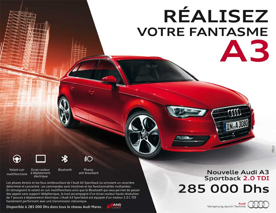 audi a3 sportback neuve en promotion au maroc. Black Bedroom Furniture Sets. Home Design Ideas