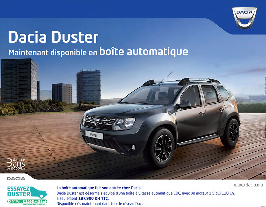 dacia duster neuve en promotion au maroc. Black Bedroom Furniture Sets. Home Design Ideas