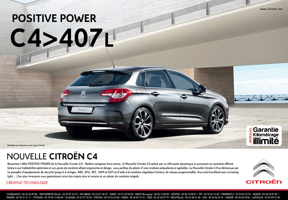 citroen c4 neuve en promotion au maroc. Black Bedroom Furniture Sets. Home Design Ideas