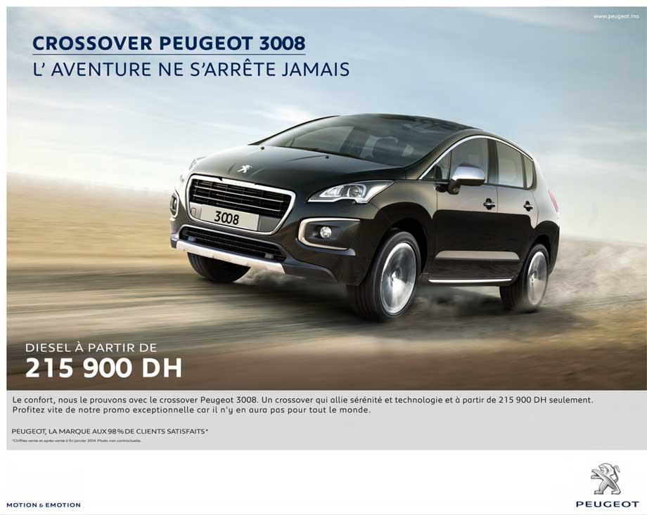 peugeot 3008 neuve en promotion au maroc. Black Bedroom Furniture Sets. Home Design Ideas