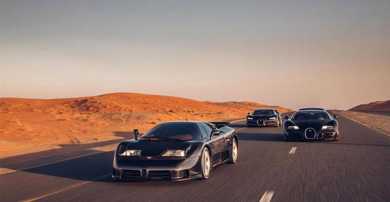 L\'EB110 Super Sport et ses héritières, la Veyron et la Chiron, ont adopté un code vestimentaire «full black» pour l\'occasion