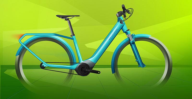 Croquis initial du PEUGEOT eC01, le vélo crossover urbain à assistance électrique